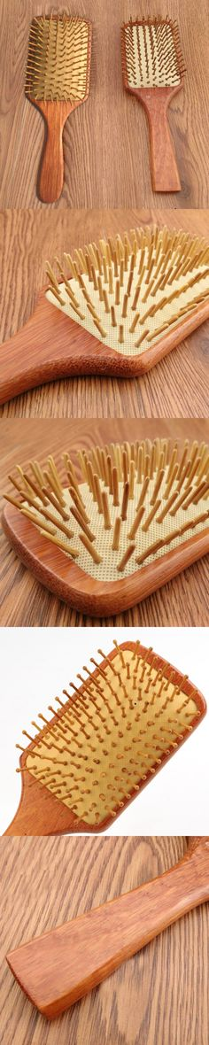 2016 Wooden Combs Paddle Brush Wooden Hair Care Healthy Cushion Massage Hairbrush Comb For Women