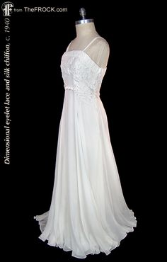 Vintage 1930s / 1940s silk chiffon and applied lace formal or wedding dress. (While the garment is available, details and more photos are found on our website at www.thefrock.com )
