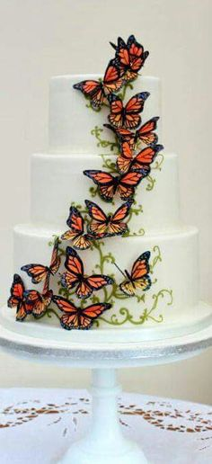 Butterfly cake--Pretty but busy--might be better with the vines and fewer butterflies.