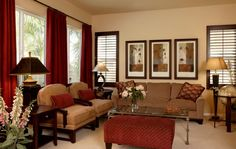 Country Living Room Ideas Decorating With Contemporary Living Room Country Decor With Red Curtains And Soft Couches And Cushions Also Puff A...