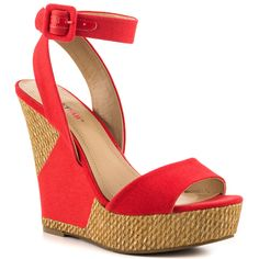 JustFab - Kira  Price: $55  As the weather gets warmer the hems get shorter so show off those legs in this ankle strap cutie! A hint of shimmer makes this 5 1/2 inch wedge shine. Canvas upper and 1 1/2 inch platform.