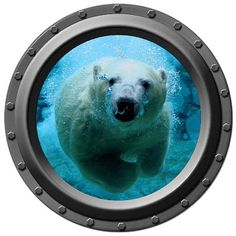Underwater Polar Bear Porthole Vinyl Wall Decal