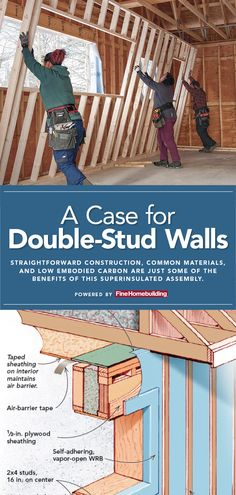 A Case for Double-Stud Walls - Fine Homebuilding Types Of Insulation, Wall Insulation, House Cladding, Wall Cladding, Building Design, Building A House, Cellulose Insulation, Framing Construction, Clapboard Siding