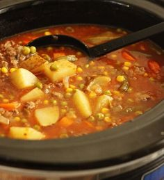 Ingredients 1 lb. ground beef 1 onion, chopped 2 c. beef broth 1 quart vegetable/tomato juice 4 medium potatoes, diced (you can peel them if you prefer, but leaving the skin on is good too) 1 c. fr…