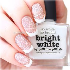 piCture pOlish 'Bright White + Holiday' french swirl nails by Mini Nail Blog LOVE thank you! www.picturepolish.com.au