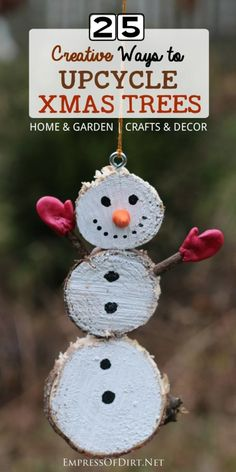 There's a lot of creative craft and decor ideas hiding in that old Christmas tree! Come see what you can make for your home and garden using discarded xmas trees. Christmas Tree Lots, Christmas Wood, Christmas Snowman, Christmas Projects, Xmas Trees, Christmas Holidays, Christmas Ornaments, Primitive Christmas, Country Christmas