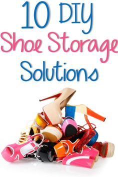 10 DIY Shoe Storage Solutions ~ There are some cost-effective supplies to create shoe holders. Cardboard - Wood seems to be best ~ allows shoes to breathe. Do It Yourself Organization, Organizing Your Home, Storage Organization, Storage Ideas, Organizing Tips, Organising Ideas, Household Organization, Shoe Storage Solutions, Diy Shoe Storage
