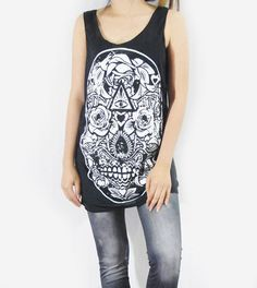 SKULL ROSE Art Design Goth Gothic Zombie Black Shirt