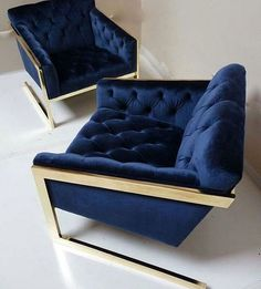 """23 Likes, 1 Comments - Flavin's Design Lounge (@flavindesigns) on Instagram: """"Talk about velvet crush.... Beautiful blue from Baughman. Inspired by the gold finish, these look…"""""""