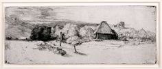 Rembrandt van Rijn (1606-1669), Landscape with Trees, Farm Buildings, and a Tower, etching and drypoint on medium weight white laid paper, 23 x 319 mm, circa 1651. To be exhibited at #TEFAF2015 in David Tunick's stand (371).
