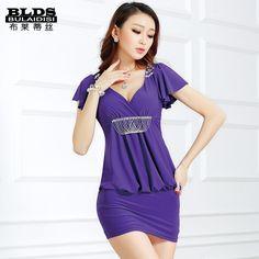 2016 summer fashion Korean low-cut V neck sexy beading special design dress slim fitness bud for women dashiki work dress
