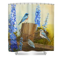 Bluebird Family and Delphiniums Shower Curtain by Johanna Lerwick - Wildlife/Nature Art. Prints (paper, canvas, acrylic & metal), greeting cards and throw pillows available.