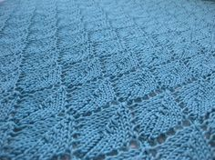 Blue/Green Hand Knit Cotton Blanket