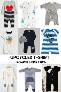 Love rompers for little boys! Inspiration for the Upcycled T-Shirt Romper and Dress Baby Sewing Tutorials, Baby Sewing Projects, Sewing Blogs, Sewing Tips, Baby Girl Shirts, Boys Shirts, Romper Pattern, Dress Sewing Patterns, Diy Clothes