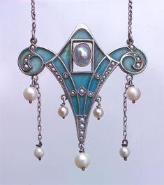 LEVINGER & BISSINGER Jugendstil Pendant Silver Plique-à-jour enamel Pearl Pendant: H: 5.6 cm (2.2 in)  W: 5 cm (1.97 in)  Chain: L: 53 cm (20.87 in)  Marks: 'HL' monogram 'depose' '900' German, c.1900
