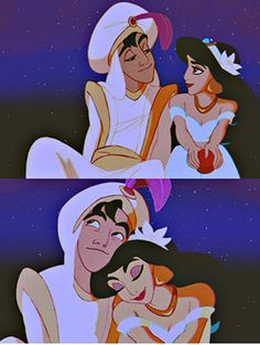 Aladdin and Jasmine both love eachother. Jasmine and Aladdin are completely different from eachother but they still care about eachother. They obey because they love eachother. Disney Pixar, Walt Disney, Disney Magic, Disney Parks, Disney Amor, Disney Couples, Disney Dream, Disney And Dreamworks, Disney Animation