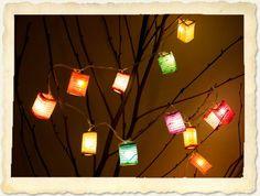 Elk feestje, diner of woonkamer wordt gezelliger met deze handgemaakte sfeerverlichting met vrolijke gekleurde lampionnetjes.