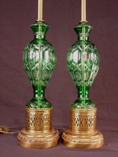514: Pair of green cut clear lamps on brass base, ca. : Lot 227