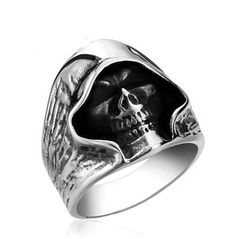 Punk Skull Men Ring Titanium Stainless Steel Men Ring