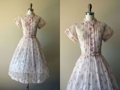 1950s Dress - Vintage 50s Dress - Pink Chiffon Sheer Novelty Print Lawn Chair Party Dress w Rhinestones M - Now This is the Life Dress by jumblelaya on Etsy