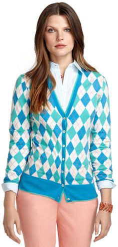 A grey or black cardigan is a great option but sometimes you want a pop of color.  Love this bold, classic print. Brooks Brothers Wool Argyle Cardigan in Blue (White-Aqua) | Pretty Little Liars