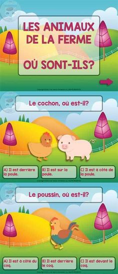 Farm Animals in French and Prepositions Quiz - For French Immersion - Farm animals in French and prepositions – a SlideShare QUIZ For French Immersion – farm animals - French Teaching Resources, Teaching French, Teaching Spanish, Teaching Reading, Teaching Tools, How To Speak French, Learn French, French Prepositions, Communication Orale