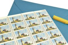 Pack of 25 Unused Maine Postage Stamps - - Maine Statehood - 1970 - Unused Postage - Quantity of Edward Hopper, Wedding Envelopes, Vintage Stamps, Unique Vintage, Birthday Invitations, Our Wedding, Maine, Decoupage, Craft Projects