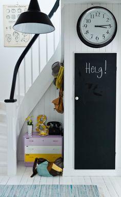 like the blackboard idea- under stairs cupboard door