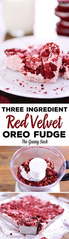 This Three Ingredient Red Velvet Oreo Fudge recipe has smooth, creamy fudge with crunchy cookies inside. Cut into heart shapes for a Valentine's Day dessert!