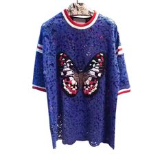 New arrival embroidery hollow out cotton t-shirts women patchwork butterfly embellishment fashion o-neck loose t-shirts