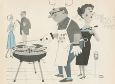 vintage grill pictures - Google Search Retro Barbecue, Vintage Ads, Vintage Antiques, Vintage Cookbooks, Line Illustration, Creative Artwork, Grill Brush, Character Design, Retro Food