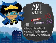 SUPER HERO Theme Classroom Decor / Center Signs / ABC center / Art center / Big…