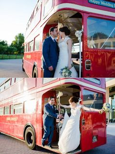Red route master bus. London themed wedding