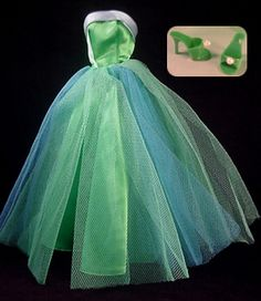 I really want to make an adult sized version of this dress! Barbie Senior Prom blue and green satin tulle gown
