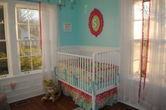 Baby Girl Nursery I love the non traditional but still girly colors. All I see in my head is this or navy, yellow, teal and grey… I'm insane.