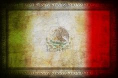 Grunge Mexico flag with frame Stock Photo
