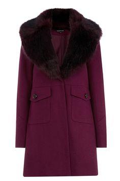 Fur Collar Swing Coat $72