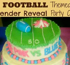 Quarterback or cheerleader theme Gender Party, Baby Gender Reveal Party, Cheerleading Cake, Gender Reveal Themes, Blue Football, Reveal Parties, Baby Party, Party Cakes, New Baby Products