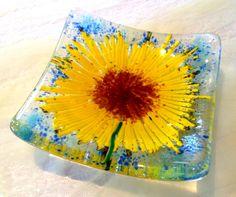 Sunflowers fused glass trinket bowl dish earrings art flower gardener girl room £7.95