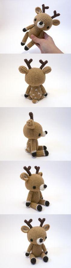 Woodland Critter – Deer Amigurumi Pattern - Decor Tips 2019 Crochet Deer, Crochet Teddy, Love Crochet, Crochet Animals, Crochet Dolls, Crochet Baby, Knit Crochet, Yule Crafts, Kid Crafts