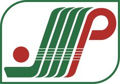 Plattsburgh Pioneers Primary Logo (1985) - A green hockey stick with a red puck next to three green lines and a red P inside a green trimmed shield.