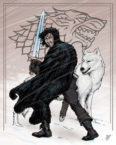 33 dibujos de Jon Snow y Ghost para usar como wallpaper – Game Of Thrones – It's Spoiler Time! Jon Snow, Game Of Thrones Wallpaper, Nerd, Comics, Games, War, Dogs, Men, Drawings