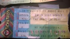 Grateful Dead 10-31-1980 Halloween @ Radio City Music Hall Ticket Stub (When I was 17 years old I slept on the sidewalk in Red Bank, NJ for 2 nights to be 1st in line to get a ticket for this show, by the 3rd person in line the show was sold out). Thanks to Judy BBF for saving the ticket stub. (Click on the ticket to listen The Show). - JB