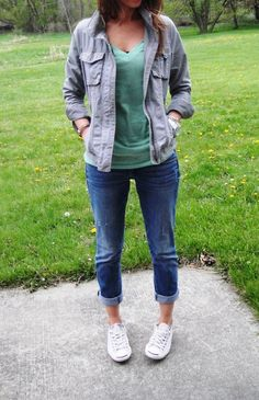 Jacket: Old Navy (2010) (great option) (similar) (and another one at F21)  Jeans: AE (1/2012) (similar here and here)  Tee: Target (buy on sale-color Field Green)  Converse: DSW (buy here-only size 11 left) (here in more sizes)  Bag: Cynthia Rowley via Marshalls (nice option for under $20) (another option at Aldo)  Watch: Micheal Kors (might be available here) (similar style)  Bracelets: Fossil, H