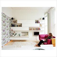 small living room+mirror Mirror between nook/living room