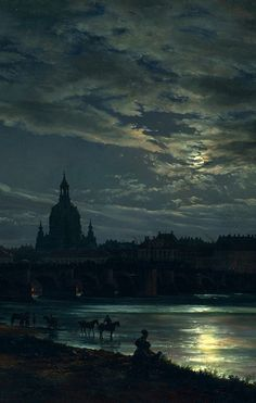 "nigra-lux: "" DAHL, Johan Christian View of Dresden by Moonlight, detail 1839 Oil on canvas, 78 × 130 cm New Masters Gallery, Dresden Ed. Nocturne, Dresden, Johan Christian Dahl, Moonlight Painting, Skier, Fantasy Landscape, Moon Art, Art History, Landscape Paintings"