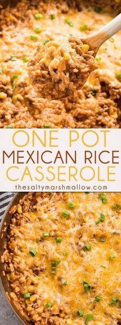 This One Pot Mexican Rice Casserole is a super flavorful quick and easy ground beef recipe Your whole family will love this tasty casserole full of beef rice corn and tons of taco flavor onepotmeal casserole mexicanrice beef dinnerrecipe Ground Beef Rice, Healthy Ground Beef, Dinner With Ground Beef, Ground Beef Recipes Easy, Beef And Rice, Recipes With Hamburger And Rice, Ground Beef Dishes, Ground Venison, Ground Beef Tacos
