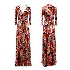ORANGE-TAN-SWIRLS-Mod-MAXI-DRESS-Jersey-Faux-Wrap-LONG-Skirt-vtg-ARTSY-S-M-L