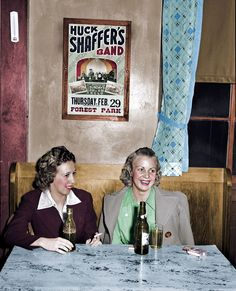 """Shorpy Historical Photo Archive :: Cheers February 1940. """"Girls in beer parlor adjoining dance hall. Marshalltown, Iowa.""""(Colorized): 1940"""