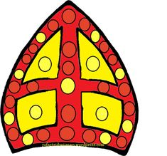 mijter met dopjes Saint Nicolas, Saints, Symbols, Toys, Projects, School, Winter, Lockers, Kids Learning